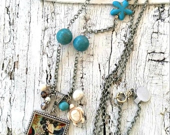 Assemblage Mermaid Necklace, MeRmAiD PeNdAnT, MeRmaid Jewelry, Assemblage NeCKlace