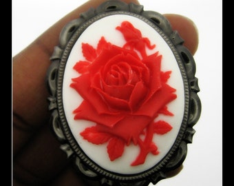 1 Antiqued Silver Tone 40 x 30mm Cameo Frame Brooch Or Pin Setting