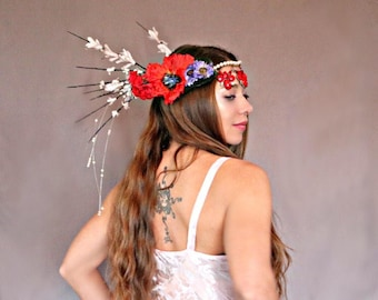 Morpheus Flower Crown, Queen Crown, Weddinng Crown, Faerie Crown, Festive Crown