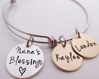 Personalized Gift for Grandma - Nana's Blessings Adjustable Bracelet - Hand Stamped Jewelry - Personalized Bangle Bracelet - Nana Bracelet