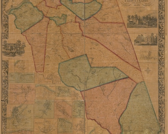 Map of Burlington County, New Jersey; Antique Map, 1859