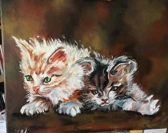 Kats, couple of cats, oil on canvas, 41cmX33cm oil and canvas