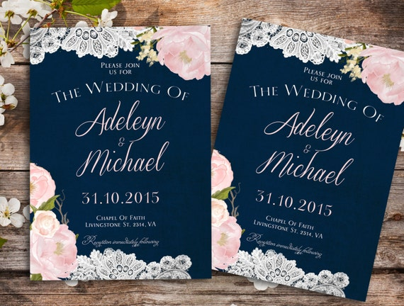 Pink And Navy Blue Wedding Invitations: Items Similar To Navy Blue Blush Pink Wedding Invitation