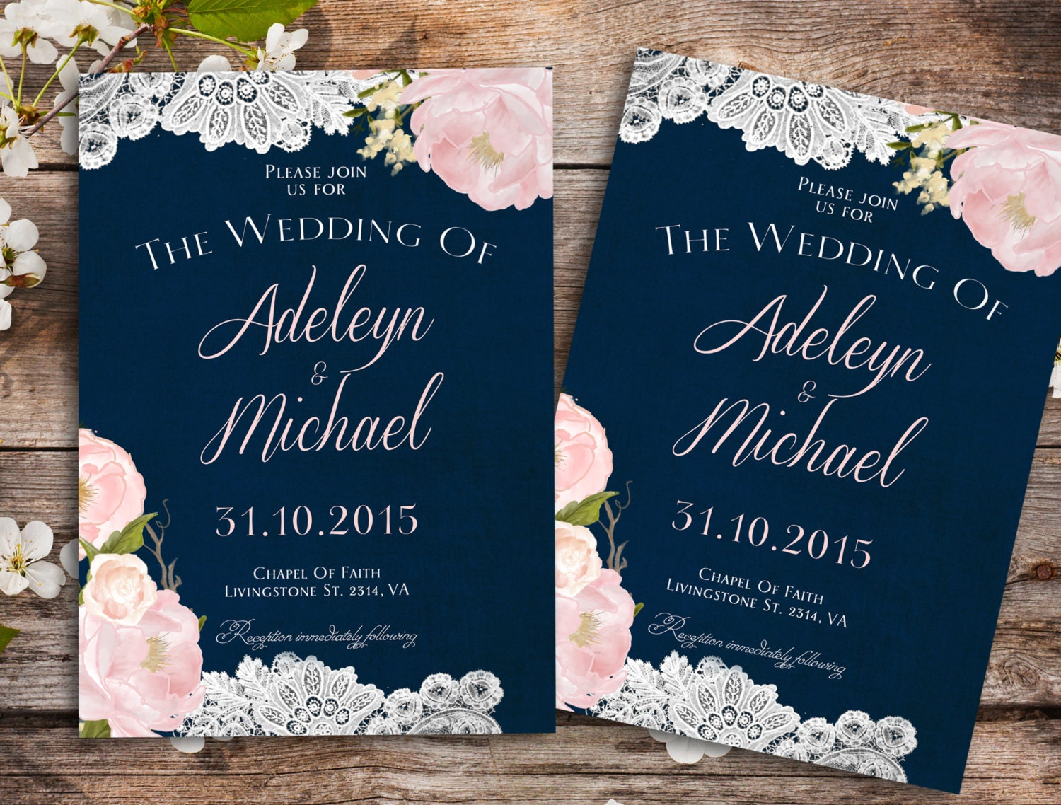 Dark Blue Wedding Invitations: Navy Blue Blush Pink Wedding Invitation Country Wedding