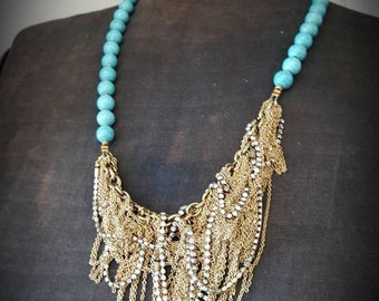 Asymmetrical Fringe Bib Necklace -  Tangled Vintage Chains and Turquoise Howlite Stone