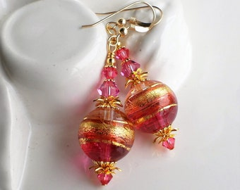 Pink Gold Murano Glass Earrings, Pink Glass Statement Earrings, Venetian Glass Dangle Earrings, Pink Gold Crystal Earrings, Murano Jewelry