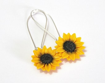 Yellow sunflower dangle earrings - floral long drop earrings, Yellow Sunflower, Wedding Earrings, Sunflower Bridesmaid Earrings