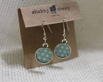 Shabby Style dangly earrings- blue polka dot
