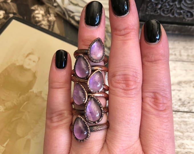 Amethyst Ring Size 5 6 7 8 9 Crystal Ring Tiny Stacking Ring / Small Crystal Ring