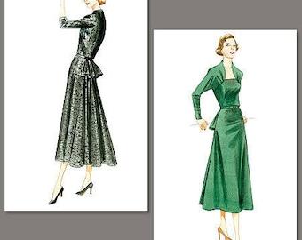 Vogue V8768 Size 6-12 Misses' Vintage Model 1950 Raised Neckline Dress with back Peplum  Sewing Pattern / Uncut FF