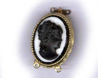 vintage CAMEO clasp glass goldtone with WHITE glass and BLACK cameo one strand bridal finding antique clasp
