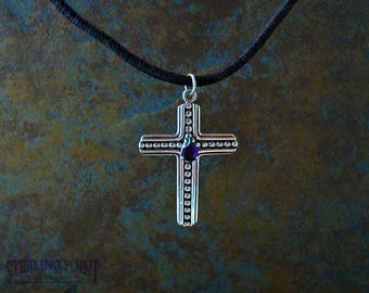 Sterling Silver Amethyst Cross,  Faceted Amethyst Gemstone Cross. Handmade Cross Beautiful and Tasteful , Lovely Christian Gift for Any One.