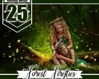 25  Forest firefly overlays, Photoshop overlays, Fairy Lights Overlays, Magical magic effect, backdrop overlays, png file