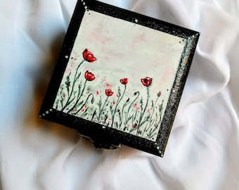 Handpainted box with poppies hand painted wooden box poppy floral small box with poppies jewelry box poppy flower red flower keepsake box