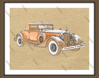 Retro car on reed paper