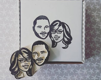 Small Custom Couples Stamp - Face only stamp, Portrait Rubber stamp, custom face stamp, engagement gift, wedding gift, wedding stationary
