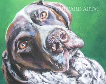 GSP German Shorthaired POINTER dog portrait ART canvas print of LAShepard painting 12x16""