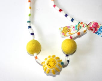 Funshine Bear Inspired Felted wool  Ball Necklace
