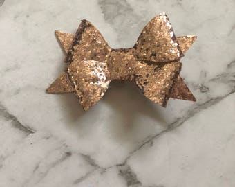 Rose Gold Glitter Flutterby Bow Hairclip, Hairbow, bowclip