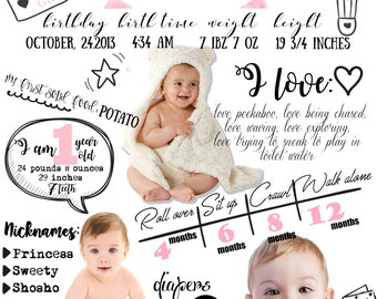 LARGE custom designed one year baby infographic -  digital file - Baby firts year infographic