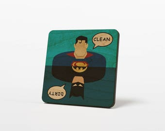 Batman Superman Clean Dirty Dishwasher Magnet  Wood Notifier Sign, Cartoons