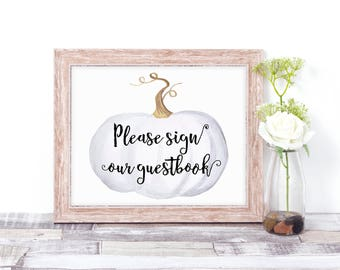 Pumpkin Guestbook Sign - Wedding Guestbook Sign - Pumpkin Guestbook Sign - Winter Wedding Sign - White Wedding Decor - Pumpkin Wedding Decor