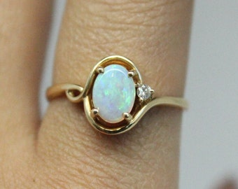 Opal Diamond 14k Gold Ring | Diamond Gold Ring | Thin Gold Ring | Bridesmaids Gift | Genuine Opal Stone | Christmas Gift