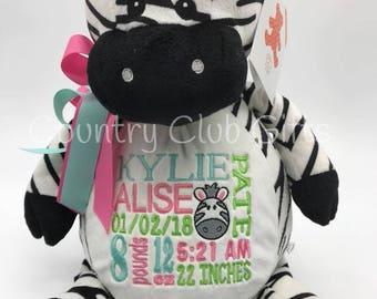 Personalized baby gift, birth stat Zebra, stuffed Zebra, Birth Stat Gift, Baby Shower Gift, Baby Girl, baby boy