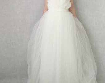 Romantic wedding dress, french lace top and tulle skirt, bridal dress, made to measure, seperate top and skirt wedding