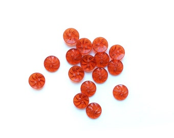 8 Red Clear Tiny Buttons, Vintage Button, 11mm