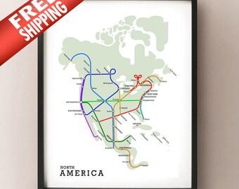 North America Subway Map - Metro Subway Style