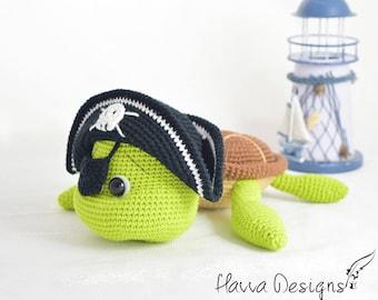 Crochet Pattern - Pirate Turtle (Amigurumi Toy Pattern)