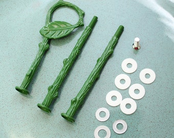 Cake stand hardware handle Green Leaf 3 tier set, cake stand fitting, rod, post for DIY cake stands
