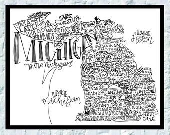 Michigan State Print- State Print- 8x10 State Print- Michigan State Decor- Michigan Decor- State of Michigan Print-Hand Lettered Print