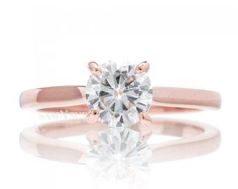 14 Karat Rose Gold Moissanite Engagement Ring