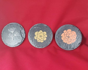 Chalk couture Flower slate coasters