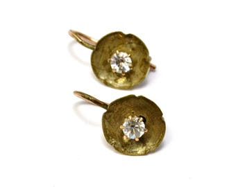Antique Victorian gold filled clear paste earrings