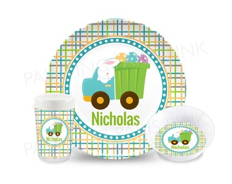 Easter Bunny Truck Melamine Dinnerware | Personalized | Customized | Buy 1 Piece or as a Set | Bunny Rabbit