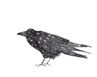 Crow instant download, Black Crow print, Bird art, Black and white art