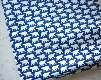 Navy Blue Scandinavian fabric white 25 X 110 cm polar bear - Denmark