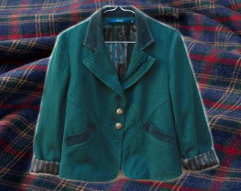 90s Clueless Deep Turquoise Green Jacket With Suede Detailing/Striped Lining ru74J6