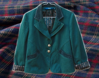 90s Clueless Deep Turquoise Green Jacket With Suede Detailing/Striped Lining