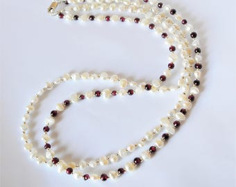 Pearl and Garnet Necklace/ Freshwater Pearl and Garnet Beaded Necklace/ Double Stranded Pearl and Garnet Necklace