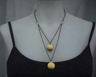 double strand locket necklace - antique brass