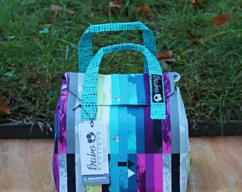 Insulated Lunch Bag, Bento Box Reusable lunch tote/carrier, waterproof lining, BPA Free, Food Friendly, purple, blue, stripes, washable