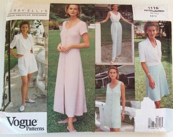 Vintage Vogue Perry Ellis sewing pattern 1118 - Misses' jacket, dress, top, skirt, shorts and pants - size 6-8-10