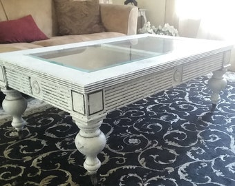 Charmant White Farmhouse Coffee Table, Chunky Shabby Chic, Distressed, Crackled And  Chipped