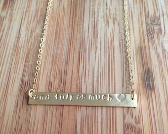 Jane Eyre Quote Literary Quote Stamped Necklace on 14 Karat Gold Filled Chain