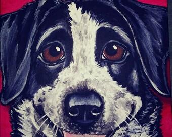 Custom Pet Portrait Painting 8x8 pet memorial, pet loss, dog, cat