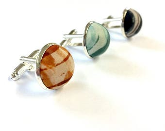 Hand-printed silk covered cufflinks (cuff links) for men. Ideal for wedding, occasion, party, gift.